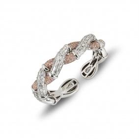 White Gold Pink and White Diamond Cuff Bangle